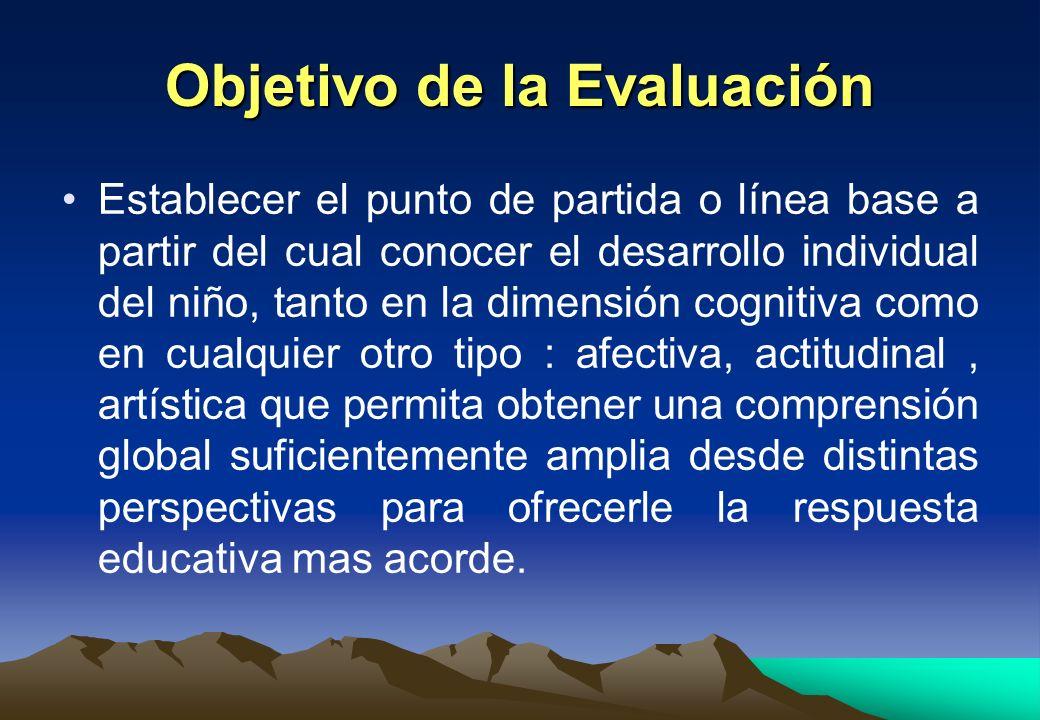 Objetivo de la Evaluación Establecer el punto de partida o línea base a partir del cual conocer el desarrollo individual del niño, tanto en la dimensi