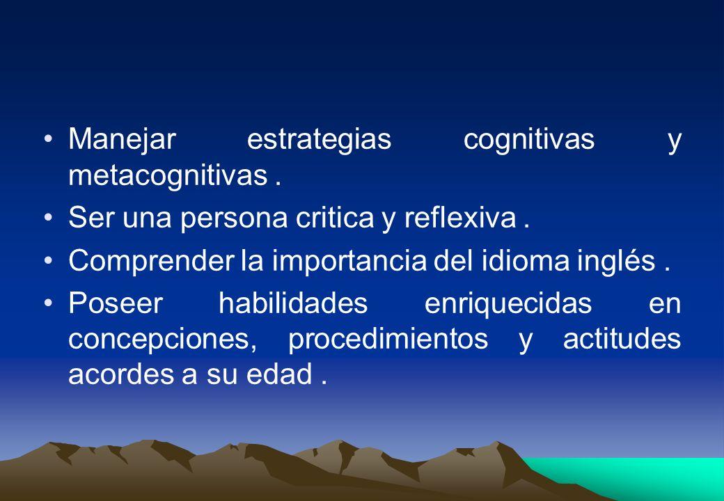 Manejar estrategias cognitivas y metacognitivas. Ser una persona critica y reflexiva. Comprender la importancia del idioma inglés. Poseer habilidades