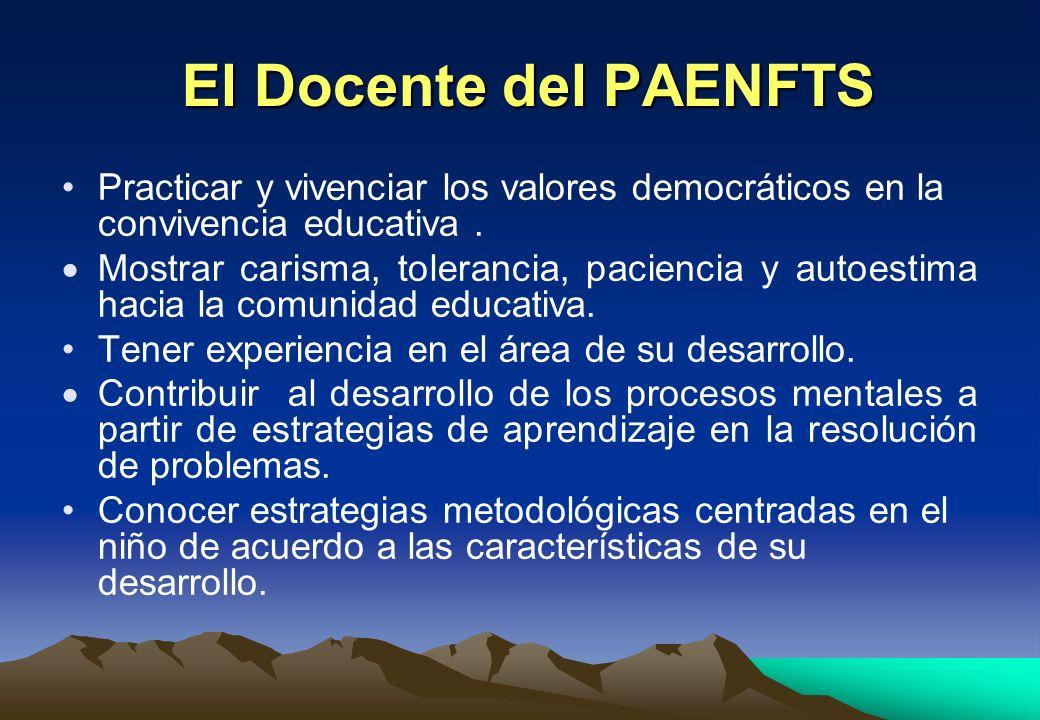 El Docente del PAENFTS El Docente del PAENFTS Practicar y vivenciar los valores democráticos en la convivencia educativa. Mostrar carisma, tolerancia,