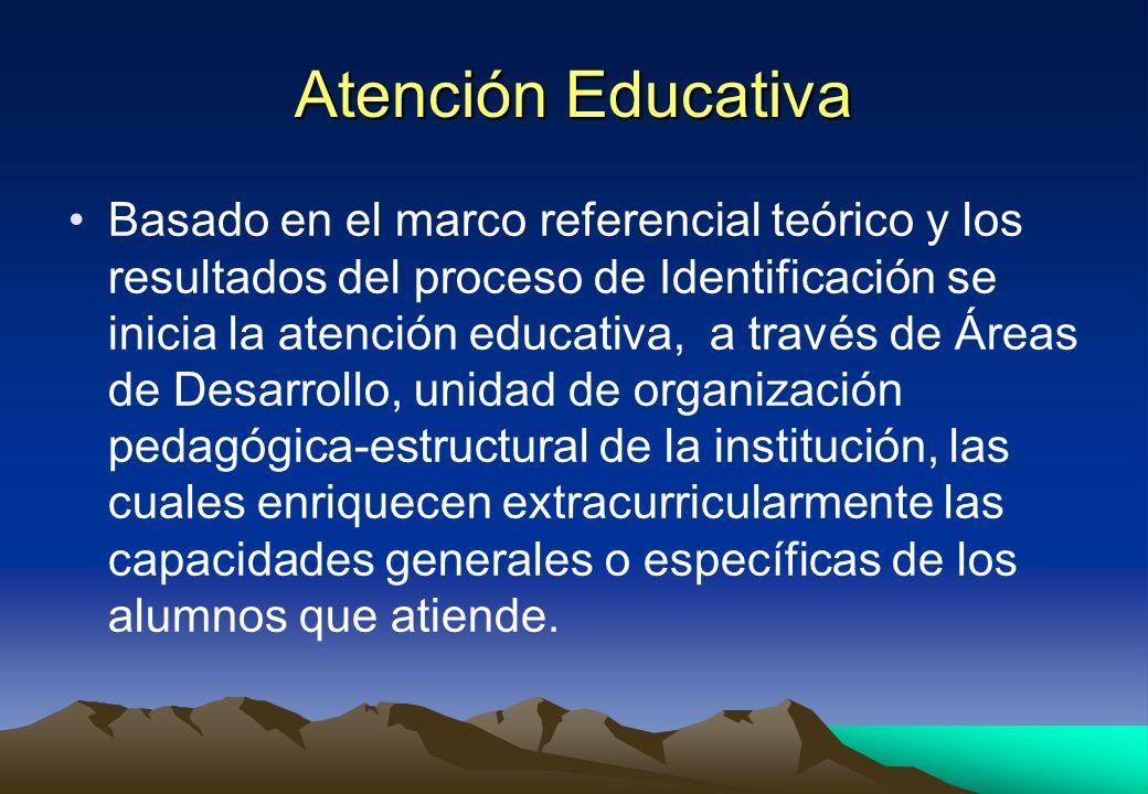 Atención Educativa Basado en el marco referencial teórico y los resultados del proceso de Identificación se inicia la atención educativa, a través de