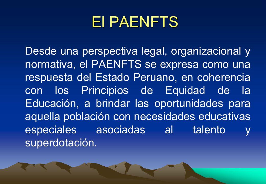 El PAENFTS El PAENFTS Desde una perspectiva legal, organizacional y normativa, el PAENFTS se expresa como una respuesta del Estado Peruano, en coheren