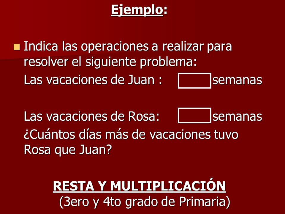 Ejemplo: Indica las operaciones a realizar para resolver el siguiente problema: Indica las operaciones a realizar para resolver el siguiente problema: Las vacaciones de Juan :semanas Las vacaciones de Rosa: semanas ¿Cuántos días más de vacaciones tuvo Rosa que Juan.