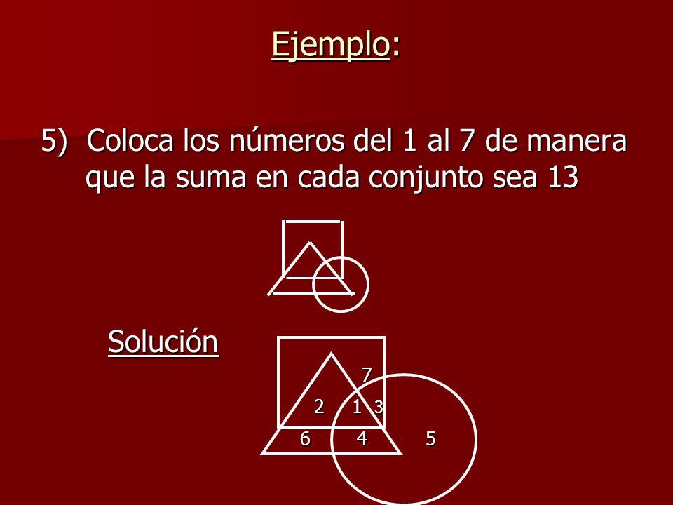 5) Coloca los números del 1 al 7 de manera que la suma en cada conjunto sea 13 Solución 7 2 1 3 2 1 3 6 4 5 6 4 5 Ejemplo: