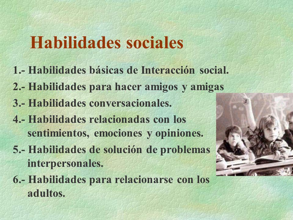 Habilidades sociales 1.- Habilidades básicas de Interacción social. 2.- Habilidades para hacer amigos y amigas 3.- Habilidades conversacionales. 4.- H