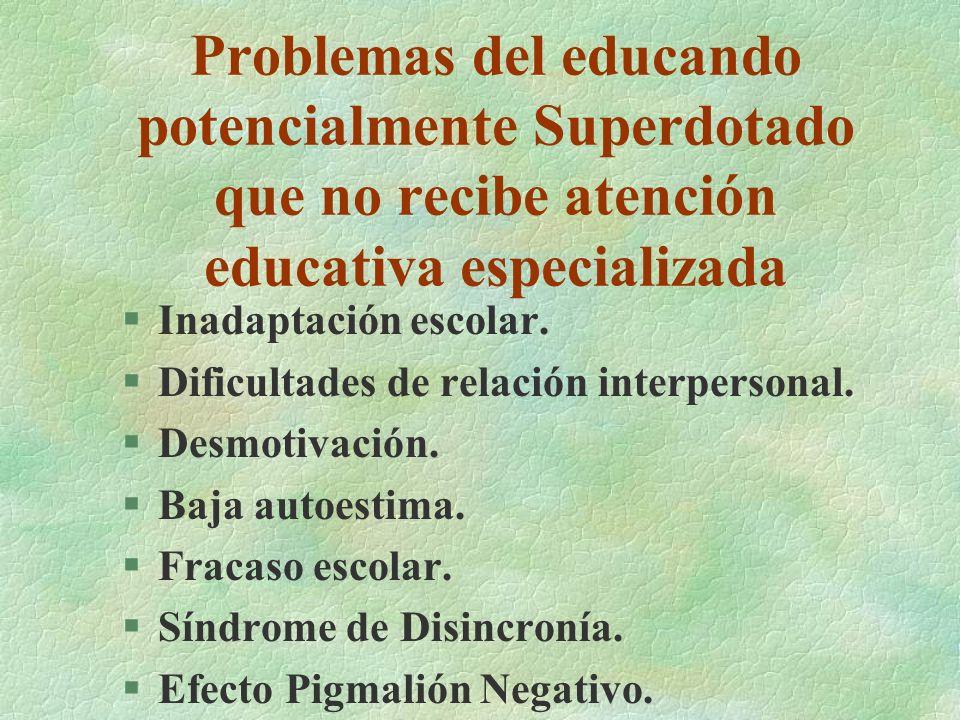 Problemas del educando potencialmente Superdotado que no recibe atención educativa especializada §Inadaptación escolar. §Dificultades de relación inte