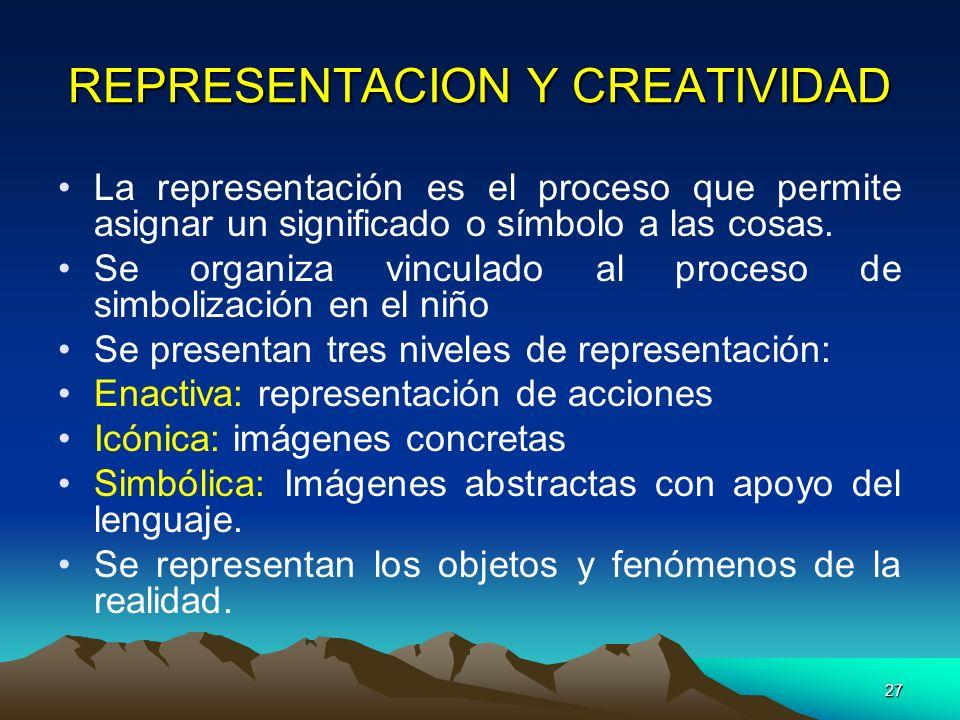 27 REPRESENTACION Y CREATIVIDAD La representación es el proceso que permite asignar un significado o símbolo a las cosas. Se organiza vinculado al pro