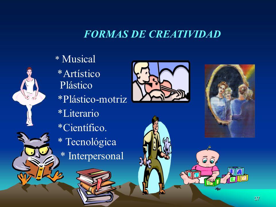 37 FORMAS DE CREATIVIDAD * Musical *Artístico Plástico *Plástico-motriz *Literario *Científico. * Tecnológica * Interpersonal
