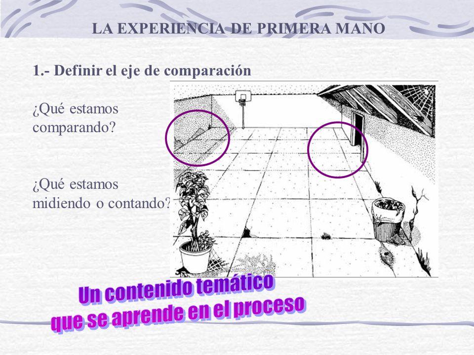1.- Definir el eje de comparación ¿Qué estamos comparando? ¿Qué estamos midiendo o contando? LA EXPERIENCIA DE PRIMERA MANO