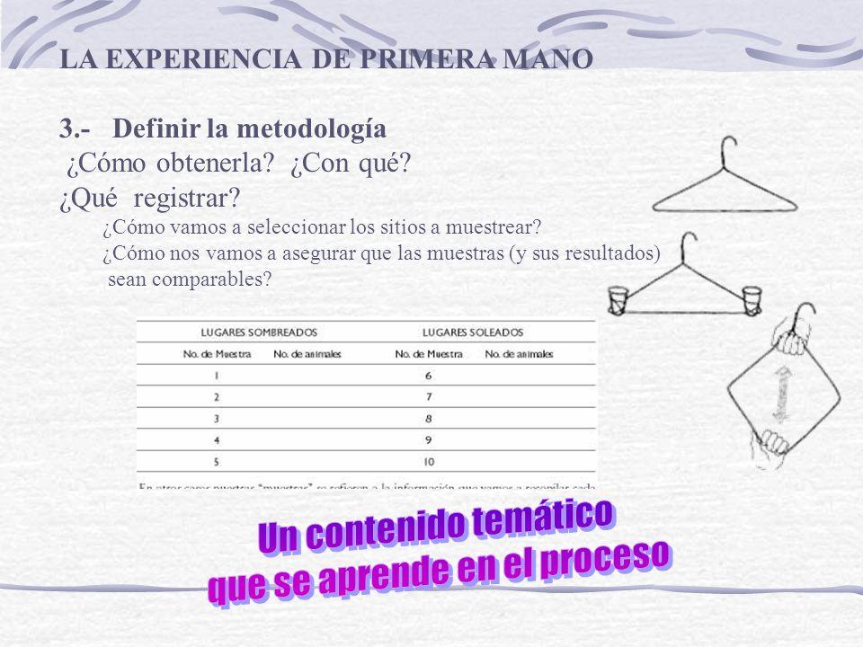 3.- Definir la metodología ¿Cómo obtenerla? ¿Con qué? ¿Qué registrar? ¿Cómo vamos a seleccionar los sitios a muestrear? ¿Cómo nos vamos a asegurar que
