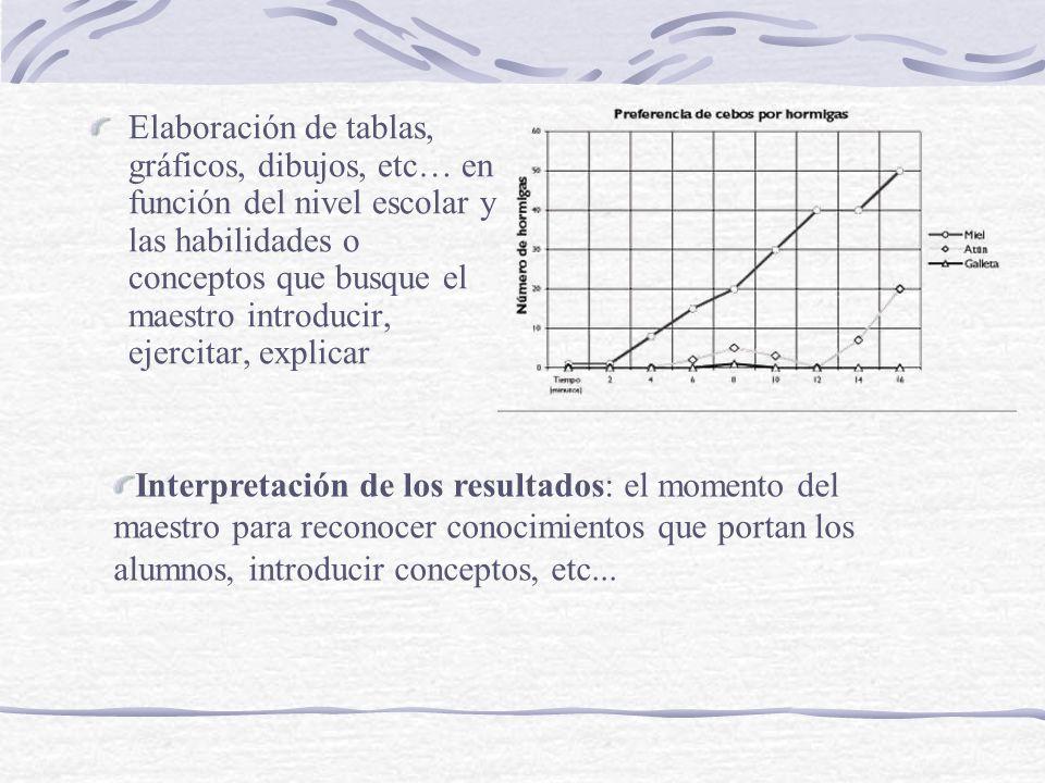 Elaboración de tablas, gráficos, dibujos, etc… en función del nivel escolar y las habilidades o conceptos que busque el maestro introducir, ejercitar,
