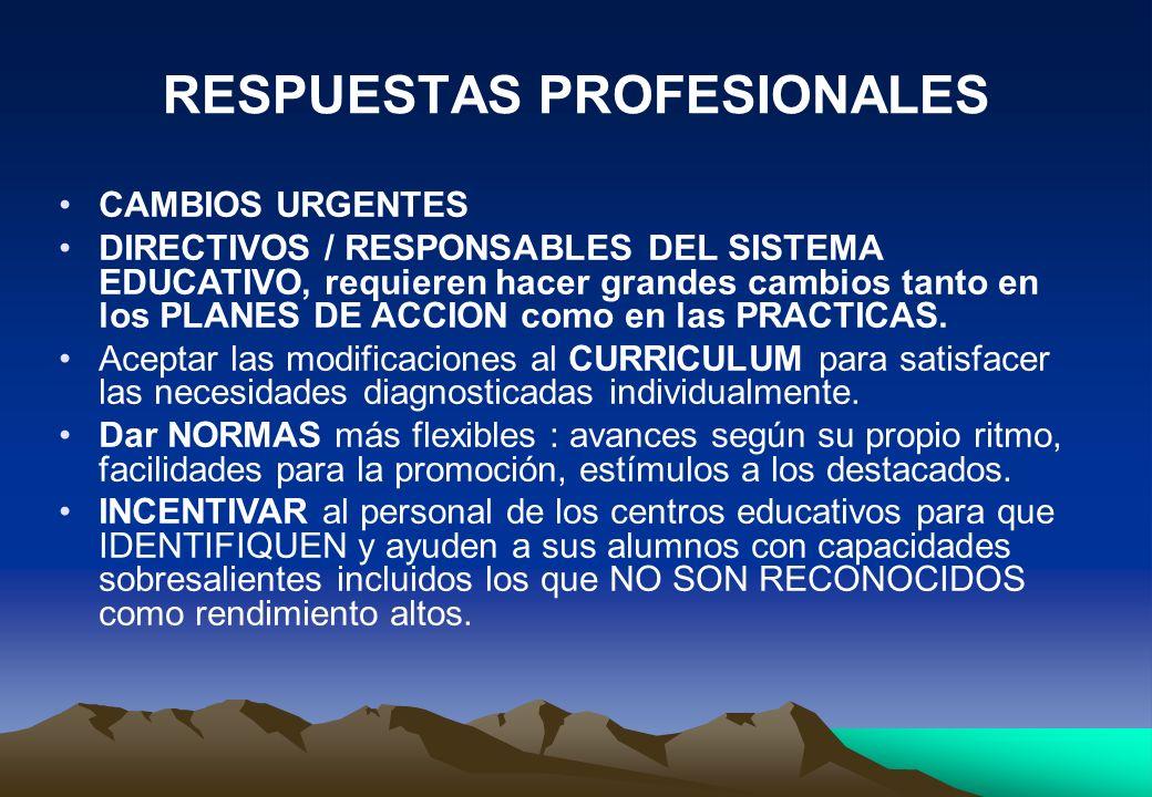 RESPUESTAS PROFESIONALES CAMBIOS URGENTES DIRECTIVOS / RESPONSABLES DEL SISTEMA EDUCATIVO, requieren hacer grandes cambios tanto en los PLANES DE ACCI