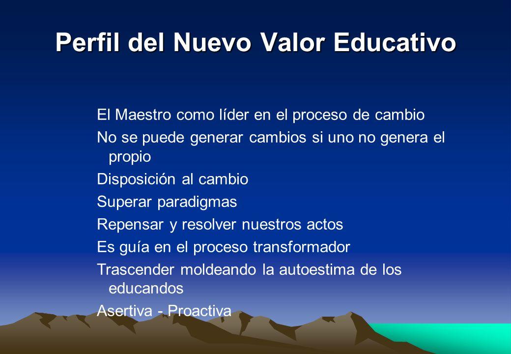 Perfil del Nuevo Valor Educativo El Maestro como líder en el proceso de cambio No se puede generar cambios si uno no genera el propio Disposición al c