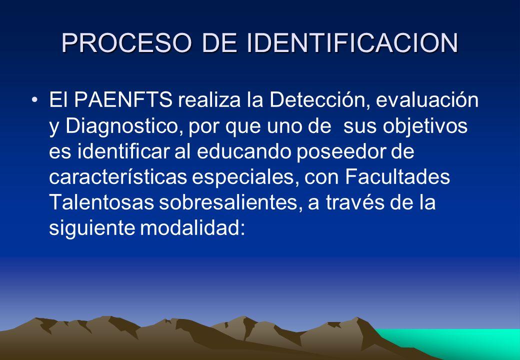 PROCESO DE IDENTIFICACION El PAENFTS realiza la Detección, evaluación y Diagnostico, por que uno de sus objetivos es identificar al educando poseedor