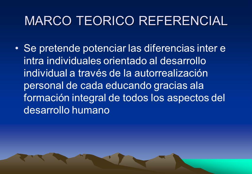 MARCO TEORICO REFERENCIAL Se pretende potenciar las diferencias inter e intra individuales orientado al desarrollo individual a través de la autorreal