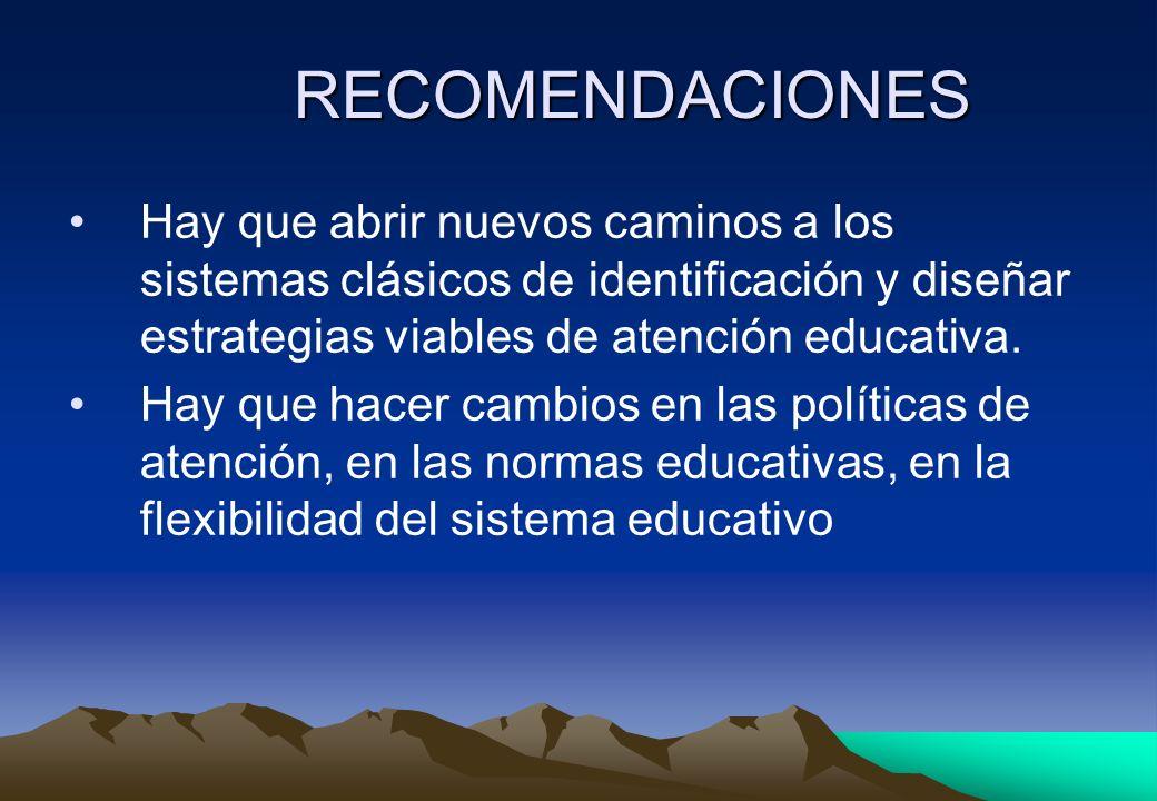 RECOMENDACIONES Hay que abrir nuevos caminos a los sistemas clásicos de identificación y diseñar estrategias viables de atención educativa. Hay que ha