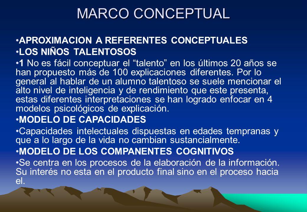 MARCO CONCEPTUAL APROXIMACION A REFERENTES CONCEPTUALES LOS NIÑOS TALENTOSOS 1 No es fácil conceptuar el talento en los últimos 20 años se han propues