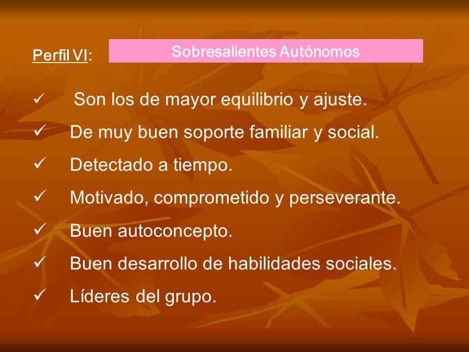 Perfil IV: Sobresalientes doblemente identificados. Sujetos con handicap físico o emocional. Difíciles de ser identificados como sobresalientes pero c