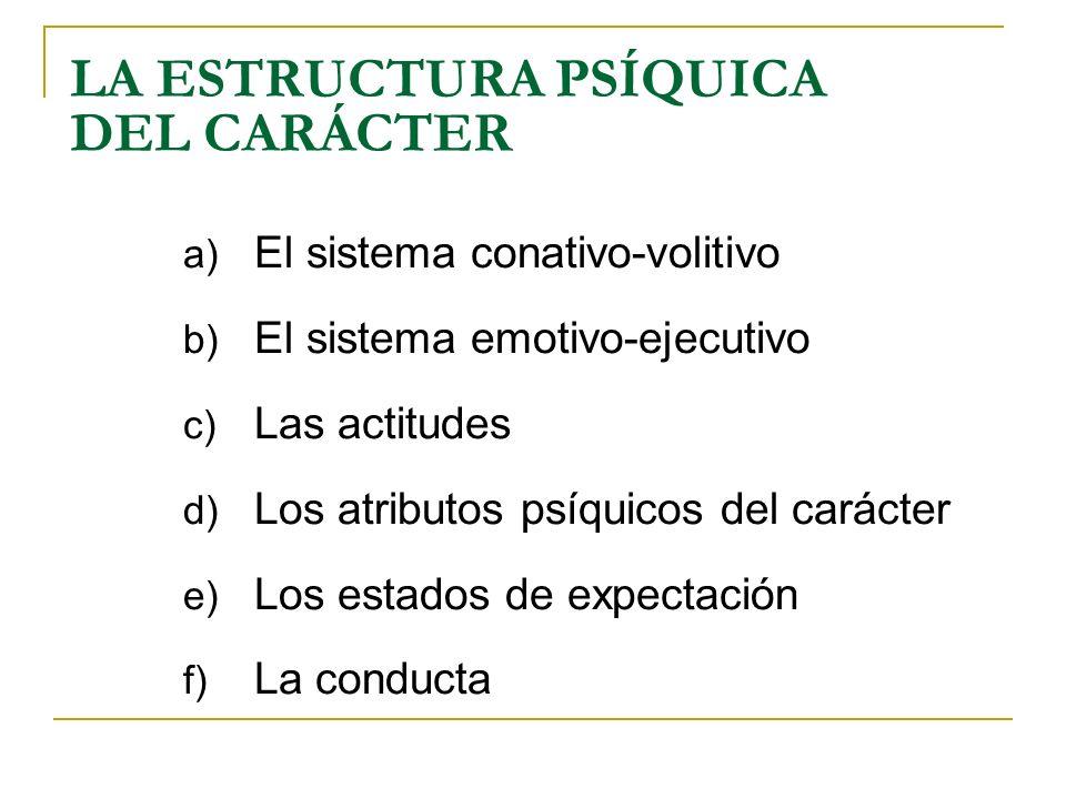LA ESTRUCTURA PSÍQUICA DEL CARÁCTER a) El sistema conativo-volitivo b) El sistema emotivo-ejecutivo c) Las actitudes d) Los atributos psíquicos del ca