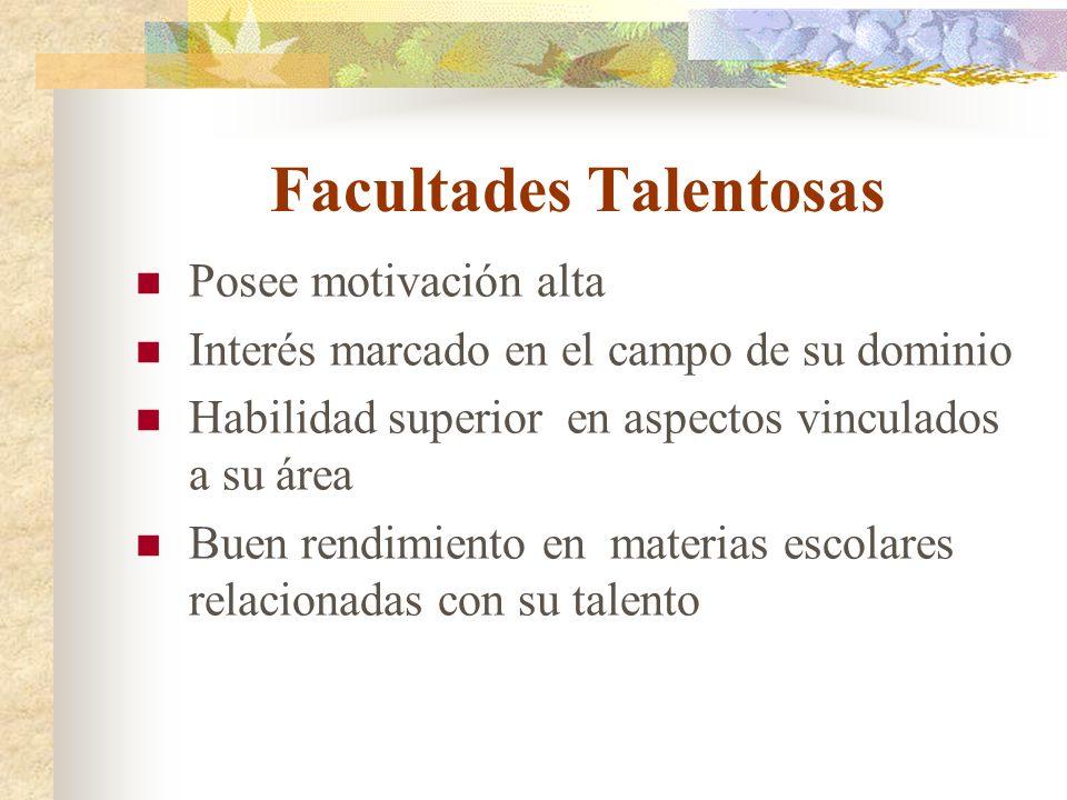 Facultades Talentosas Posee motivación alta Interés marcado en el campo de su dominio Habilidad superior en aspectos vinculados a su área Buen rendimi