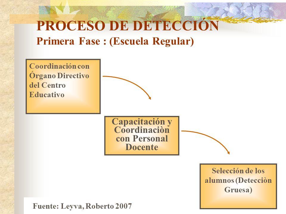 PROCESO DE DETECCIÓN Primera Fase : (Escuela Regular) Coordinación con Órgano Directivo del Centro Educativo Capacitación y Coordinaciòn con Personal