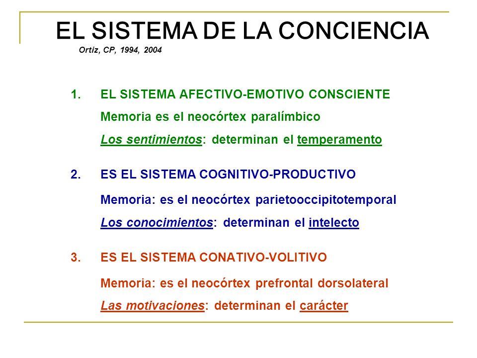 EL SISTEMA DE LA CONCIENCIA Ortiz, CP, 1994, 2004 1.EL SISTEMA AFECTIVO-EMOTIVO CONSCIENTE Memoria es el neocórtex paralímbico Los sentimientos: deter