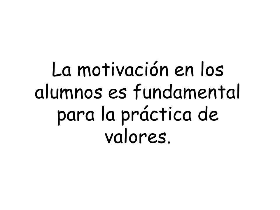 La motivación en los alumnos es fundamental para la práctica de valores.