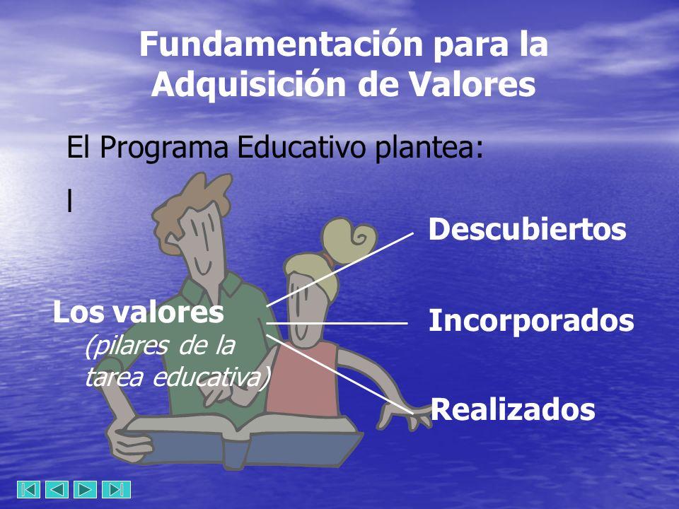 Fundamentación para la Adquisición de Valores El Programa Educativo plantea: l Los valores (pilares de la tarea educativa) Descubiertos Incorporados Realizados
