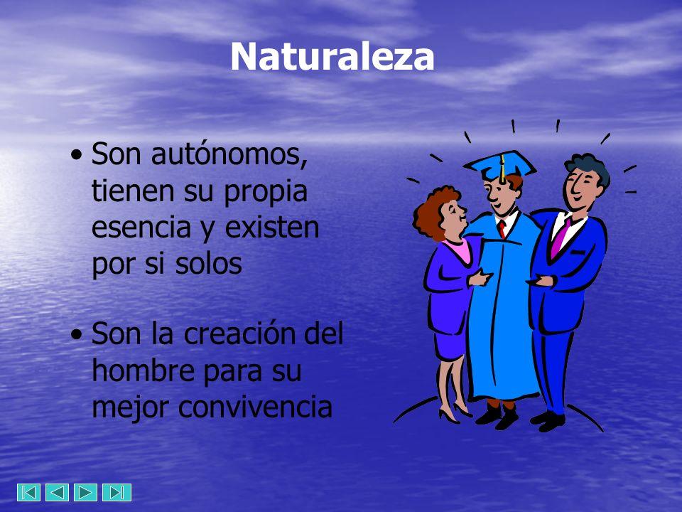 Naturaleza Son autónomos, tienen su propia esencia y existen por si solos Son la creación del hombre para su mejor convivencia