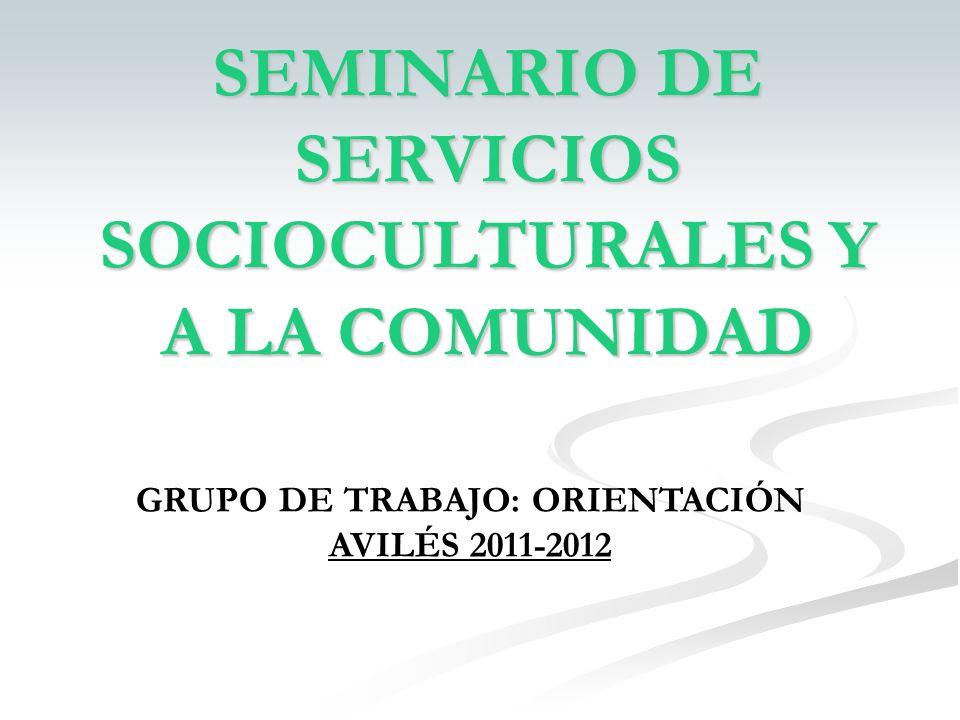 SEMINARIO DE SERVICIOS SOCIOCULTURALES Y A LA COMUNIDAD GRUPO DE TRABAJO: ORIENTACIÓN AVILÉS 2011-2012