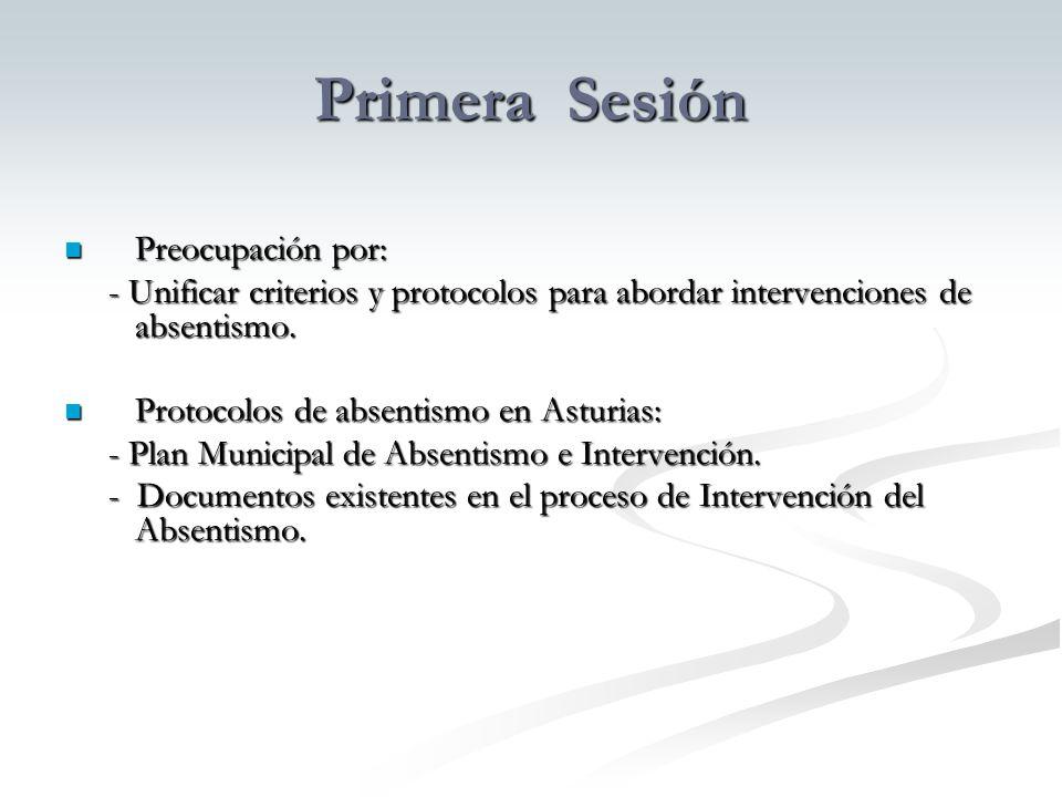 Primera Sesión Preocupación por: Preocupación por: - Unificar criterios y protocolos para abordar intervenciones de absentismo.