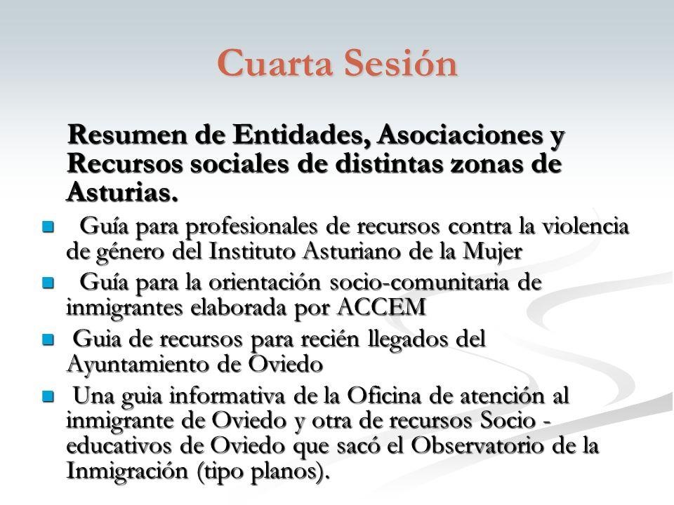 Cuarta Sesión Resumen de Entidades, Asociaciones y Recursos sociales de distintas zonas de Asturias.