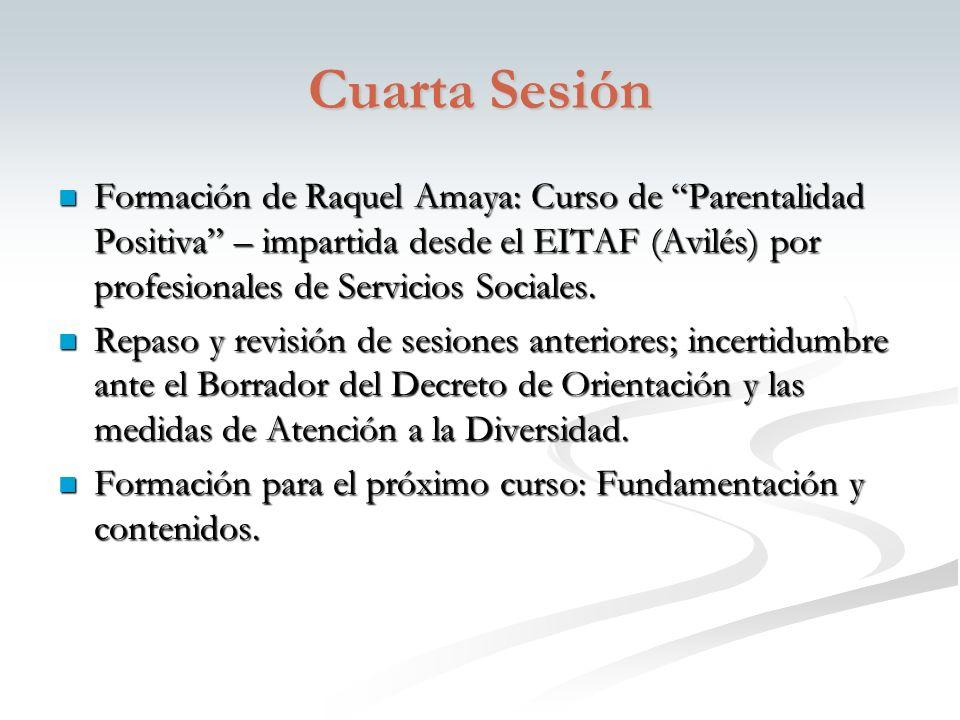 Cuarta Sesión Formación de Raquel Amaya: Curso de Parentalidad Positiva – impartida desde el EITAF (Avilés) por profesionales de Servicios Sociales.