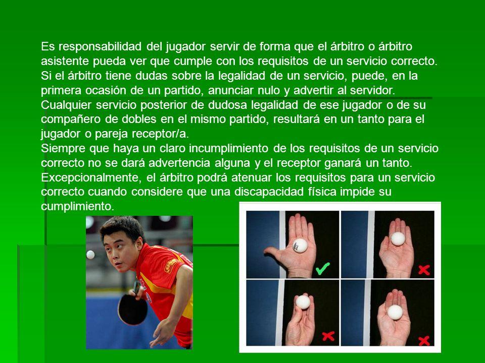 Es responsabilidad del jugador servir de forma que el árbitro o árbitro asistente pueda ver que cumple con los requisitos de un servicio correcto.