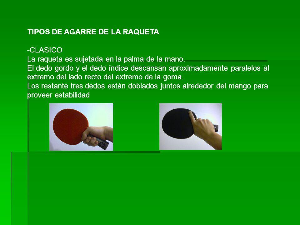 TIPOS DE AGARRE DE LA RAQUETA -CLASICO La raqueta es sujetada en la palma de la mano.