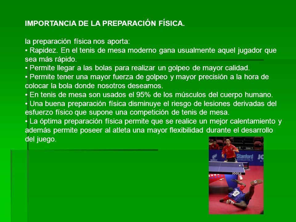 IMPORTANCIA DE LA PREPARACIÓN FÍSICA.la preparación física nos aporta: Rapidez.