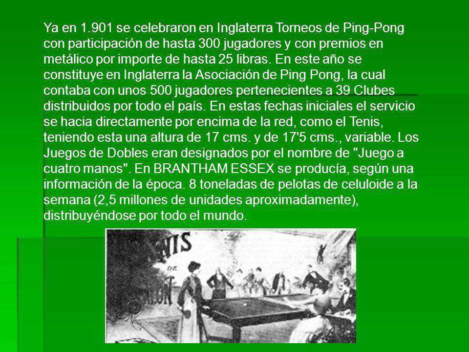 Ya en 1.901 se celebraron en Inglaterra Torneos de Ping-Pong con participación de hasta 300 jugadores y con premios en metálico por importe de hasta 25 libras.