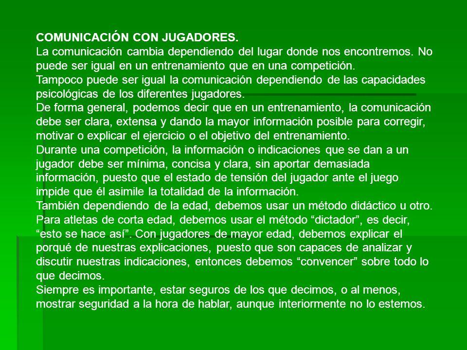 COMUNICACIÓN CON JUGADORES.La comunicación cambia dependiendo del lugar donde nos encontremos.