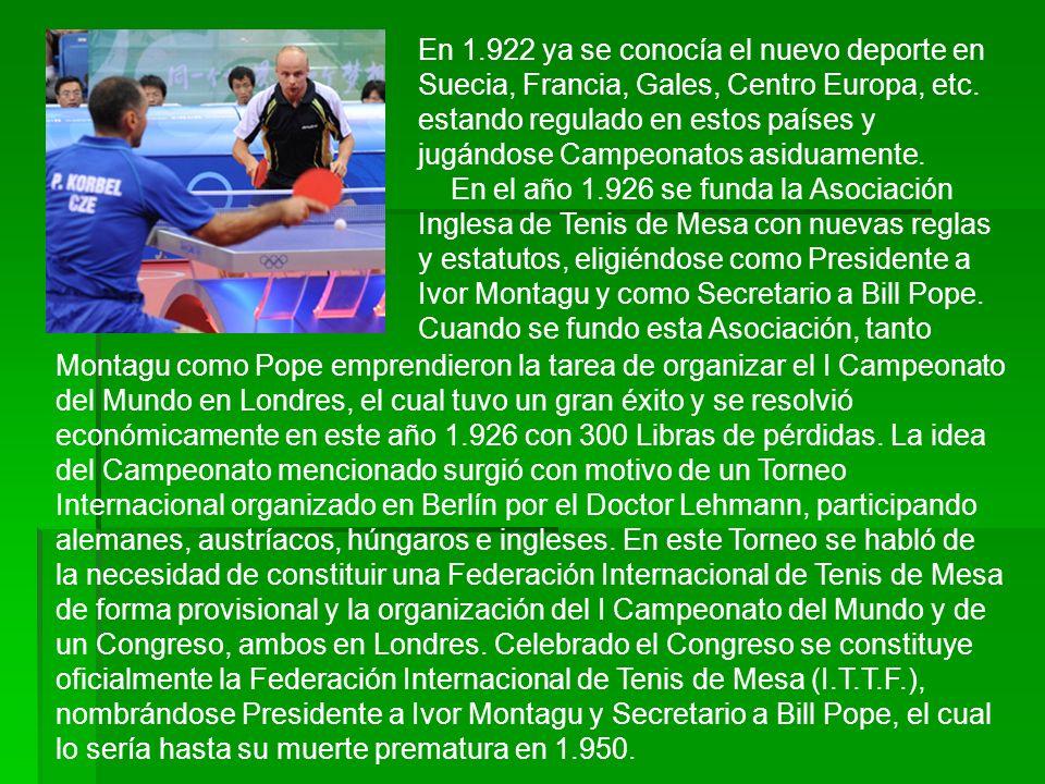 Montagu como Pope emprendieron la tarea de organizar el I Campeonato del Mundo en Londres, el cual tuvo un gran éxito y se resolvió económicamente en este año 1.926 con 300 Libras de pérdidas.