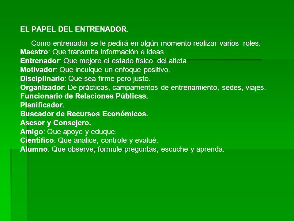 EL PAPEL DEL ENTRENADOR.