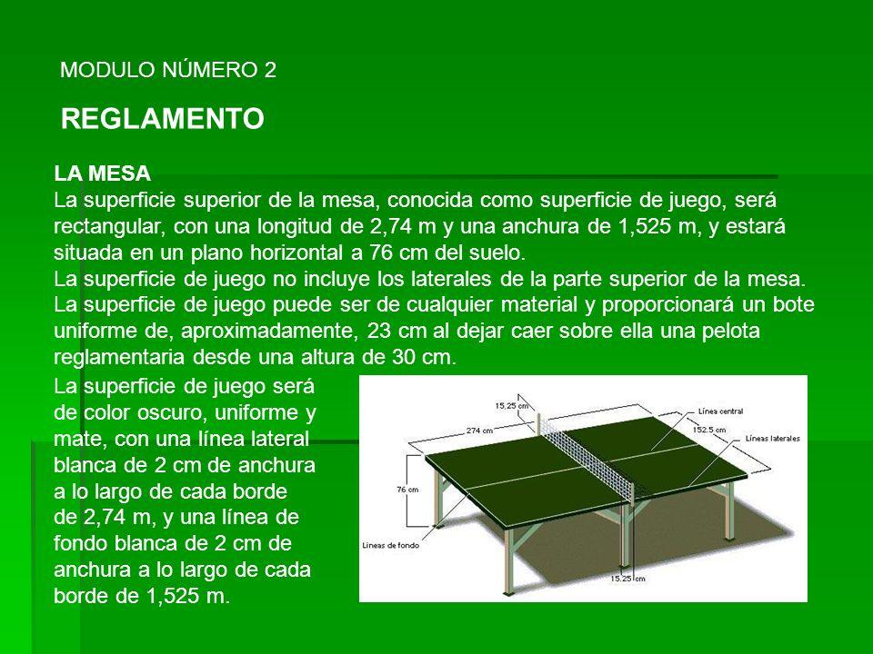 MODULO NÚMERO 2 REGLAMENTO LA MESA La superficie superior de la mesa, conocida como superficie de juego, será rectangular, con una longitud de 2,74 m y una anchura de 1,525 m, y estará situada en un plano horizontal a 76 cm del suelo.