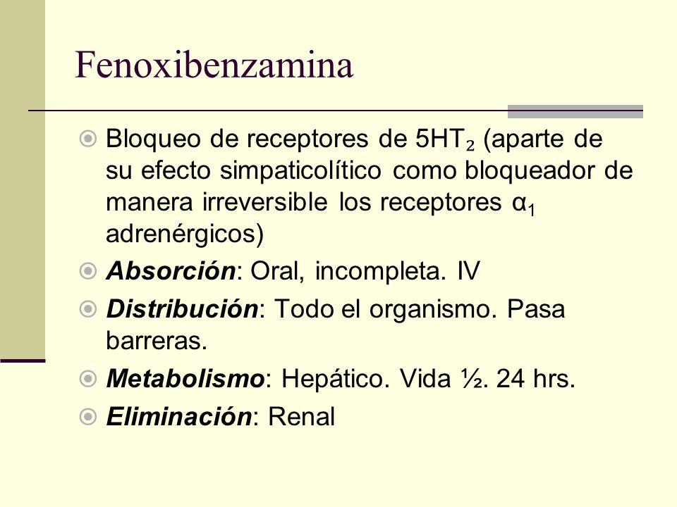 Fenoxibenzamina Bloqueo de receptores de 5HT (aparte de su efecto simpaticolítico como bloqueador de manera irreversible los receptores α 1 adrenérgic