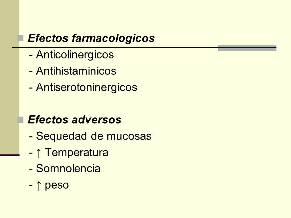 Efectos farmacologicos - Anticolinergicos - Antihistaminicos - Antiserotoninergicos Efectos adversos - Sequedad de mucosas - Temperatura - Somnolencia