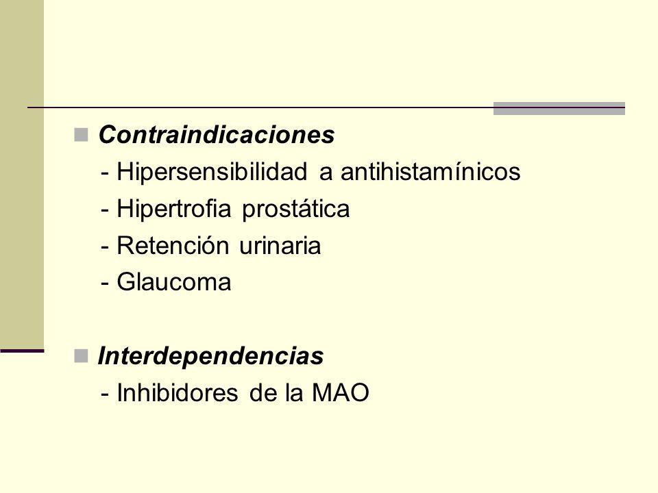 Contraindicaciones - Hipersensibilidad a antihistamínicos - Hipertrofia prostática - Retención urinaria - Glaucoma Interdependencias - Inhibidores de