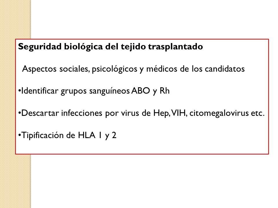 Seguridad biológica del tejido trasplantado Aspectos sociales, psicológicos y médicos de los candidatos Identificar grupos sanguíneos ABO y Rh Descart
