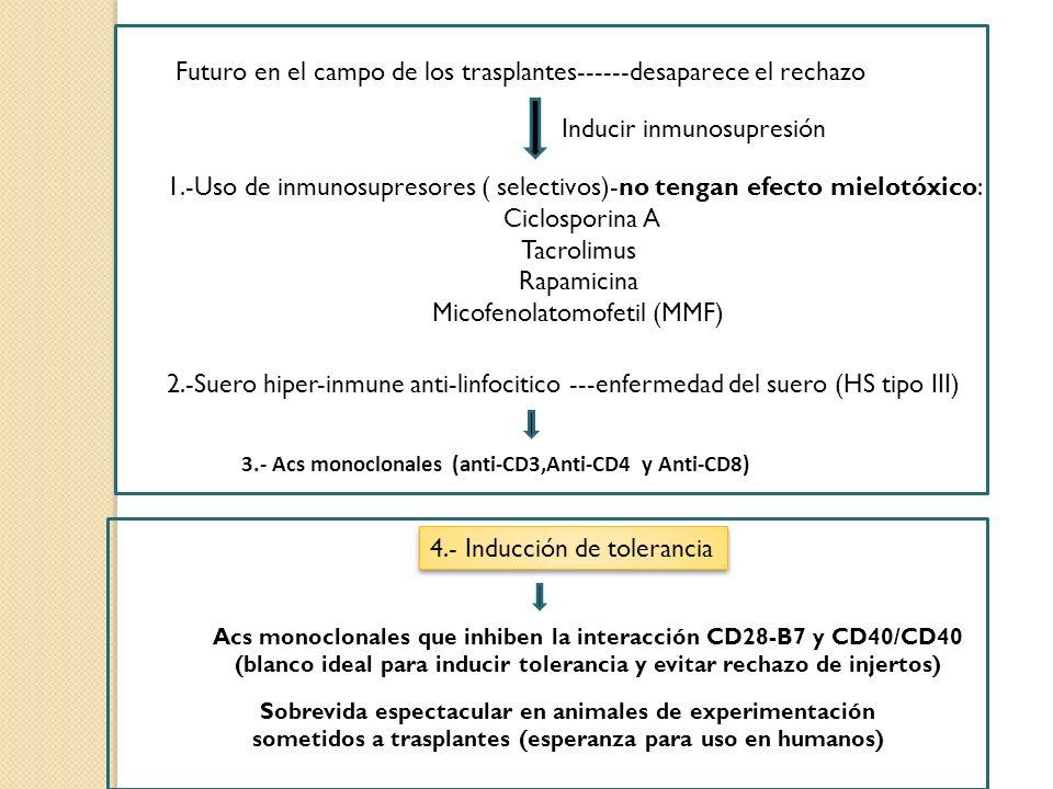 Futuro en el campo de los trasplantes------desaparece el rechazo 4.- Inducción de tolerancia 1.-Uso de inmunosupresores ( selectivos)-no tengan efecto