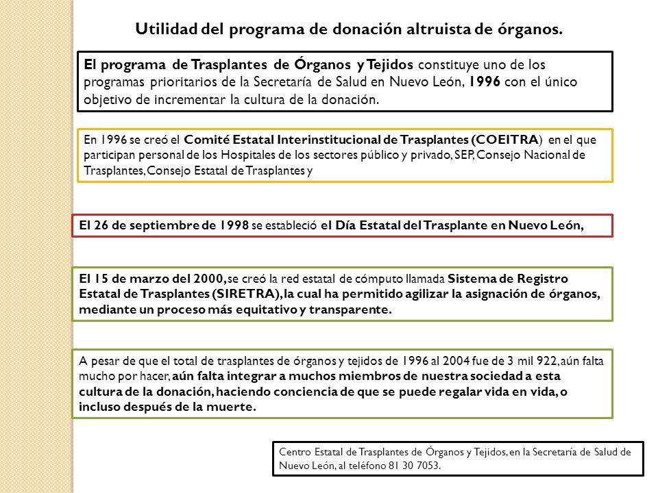 Utilidad del programa de donación altruista de órganos. El programa de Trasplantes de Órganos y Tejidos constituye uno de los programas prioritarios d