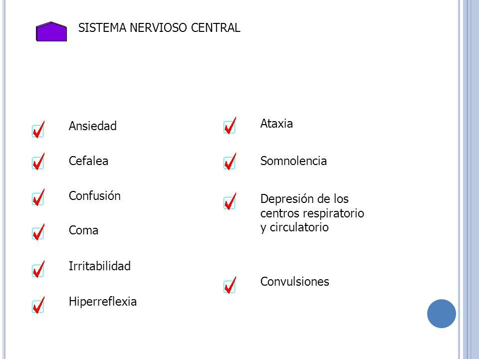 SISTEMA NERVIOSO CENTRAL Ansiedad Cefalea Confusión Irritabilidad Hiperreflexia Ataxia Somnolencia Depresión de los centros respiratorio y circulatori