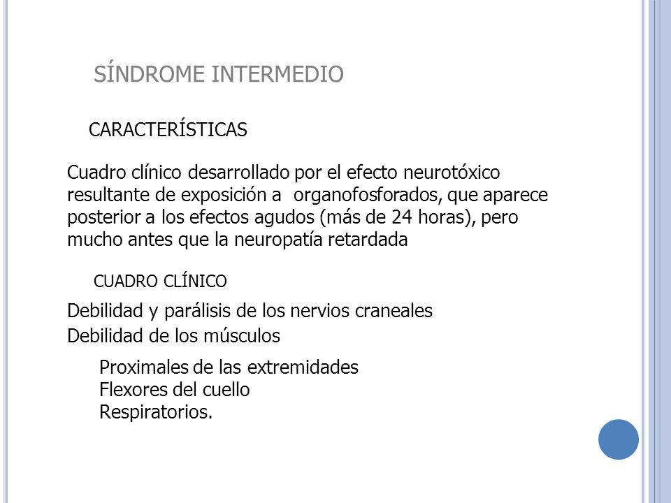 SÍNDROME INTERMEDIO CARACTERÍSTICAS Cuadro clínico desarrollado por el efecto neurotóxico resultante de exposición a organofosforados, que aparece pos