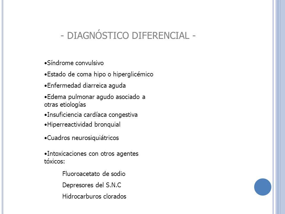 - DIAGNÓSTICO DIFERENCIAL - Síndrome convulsivo Estado de coma hipo o hiperglicémico Enfermedad diarreica aguda Edema pulmonar agudo asociado a otras