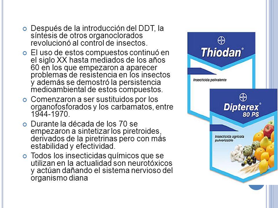 Después de la introducción del DDT, la síntesis de otros organoclorados revolucionó al control de insectos. El uso de estos compuestos continuó en el